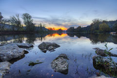 Sunset Over River in Beynac Royalty Free Stock Photography