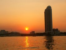 Sunset over the river Chao Phraya Stock Photo