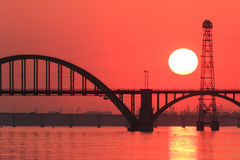 Sunset over river Stock Photos