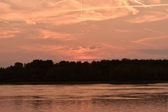 Sunset over the river Danube. Hungary stock image