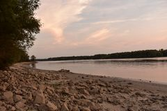 Sunset over the river Danube. Hungary stock images