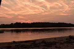 Sunset over the river Danube. Hungary stock photography