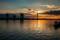 Sunset over the river Daugava. Beautiful sunset over the river Daugava in Riga, Latvia royalty free stock photography