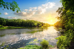 Sunset over the river Donets Royalty Free Stock Photography