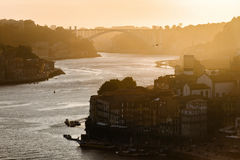 Sunset over the river douro in Porto Royalty Free Stock Images