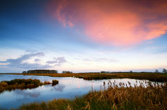 Sunset over river in Drenthe Royalty Free Stock Image