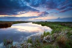 Sunset over river, Drenthe Stock Images