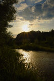 Sunset over river Dunajec Royalty Free Stock Images