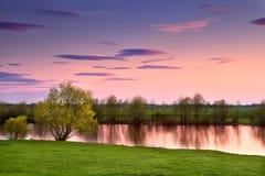 Sunset over river, Gelderland Stock Photos