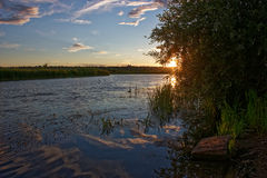 Sunset over the River in July. Royalty Free Stock Photo