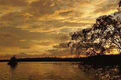 Sunset over the river in the jungle of the island of Borneo, Malaysia stock image
