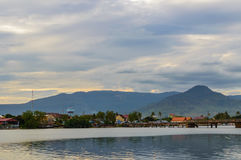 Sunset over river in Kampot, Cambodia. Royalty Free Stock Photo