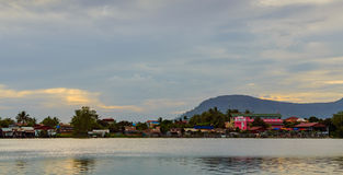 Sunset over river in Kampot, Cambodia. Royalty Free Stock Photos