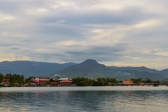Sunset over river in Kampot, Cambodia. Stock Images