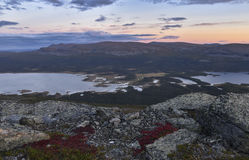 Sunset over river and lake landscape Sarek national park, Sweden. Climbing the a top rewarding me with this awesome view of the sunset, Sarek royalty free stock photography
