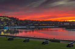 Sunset Over the River Medway in Kent Stock Photos