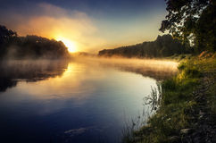 Sunset over river Neris stock image