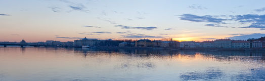 Sunset over the River Neva Stock Photo