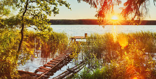 Sunset over the river. Panorama Stock Photography