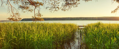 Sunset over the river. Panorama Royalty Free Stock Photo