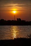 Sunset over the river. Royalty Free Stock Images