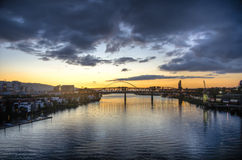 Sunset over river, Portland, Oregon Stock Images
