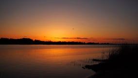 Sunset and orange sky Stock Image