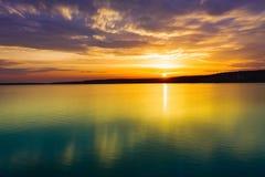Sunset over the river. Amazing landscape. Sunset over the river in Russia. Amazing landscape stock photo