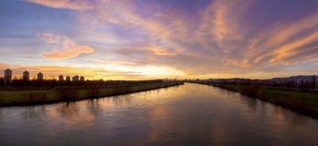 Sunset over river Sava Stock Image