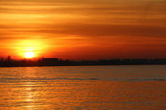 Sunset Over The River Schelde. Royalty Free Stock Photography