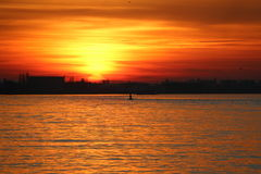 Sunset Over The River Schelde. Stock Photography