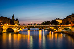 Sunset over River Seine in Paris. Reflections on the river in Paris Royalty Free Stock Photos