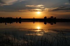 Sunset over the river Sozh. Royalty Free Stock Image