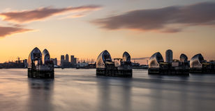 Sunset over the River Thames and the Thames Barrier Stock Photo