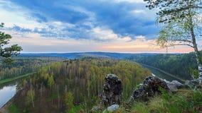 Sunset over river TimeLapse. 4K. Sunset over the valley. Approaching fog.. Video. UltraHD (4K stock video