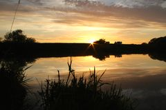 Sunset over the river trent Royalty Free Stock Photo
