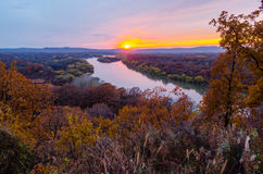 Sunset over the river Ussuri. Primorsky Krai. Russia Royalty Free Stock Photography