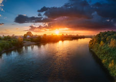 Sunset over river Royalty Free Stock Photos