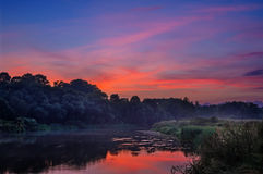 Sunset over the river Royalty Free Stock Image