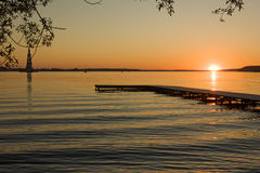 Sunset over river Royalty Free Stock Images