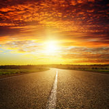 Sunset Over Road Royalty Free Stock Image