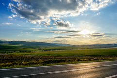 Sunset over the road Royalty Free Stock Photography