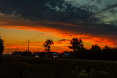 Sunset over the road Royalty Free Stock Photo