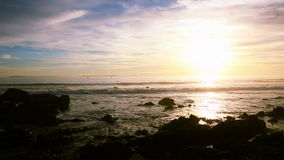 Sunset over rock Beack in California stock video footage