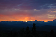 Sunset over Rock Mountains in Golden, Colorado USA Royalty Free Stock Image
