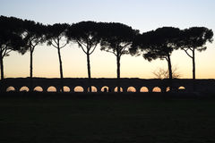 Sunset over Roman aqueduct in Rome Royalty Free Stock Photography