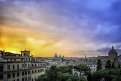 Sunset over the rooftops of Rome Stock Image