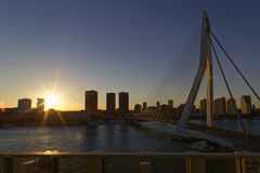 Sunset over Rotterdam Stock Images