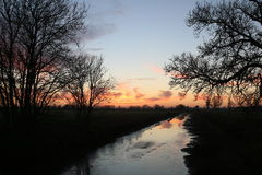 Sunset over Royal Military Canal, Kent stock images