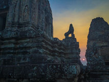 Sunset over ruins in Ta Keo, Angkor Wat Royalty Free Stock Images